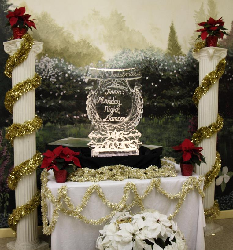 Christmas Ice sculpture display for photo shoots